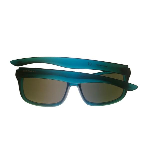 Skechers Mens Sunglass Matte Blue. Rectangle Wrap Plastic, SE8008 91C