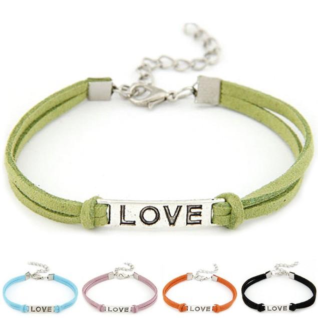 Women Men Love Handmade Alloy Rope Charm Jewelry Weave Bracelet