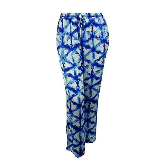MICHAEL Michael Kors Womens Plus Sateen Printed Wide Leg Pants Blue 3X