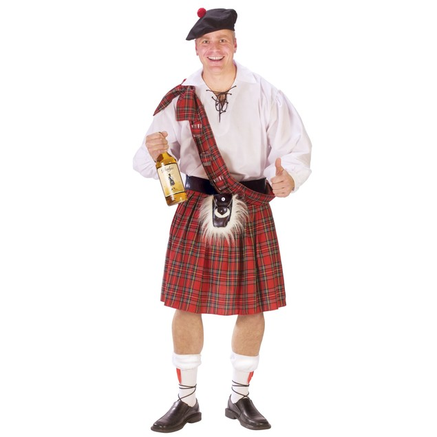 Scottish Kilt Red Plaid Tartan Braveheart Irish Gentleman Adult Black Watch