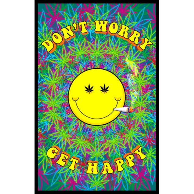 "Don't Worry Get Happy Blacklight Poster 24"" x 36"" Marijuana Weed Pot Smiley"