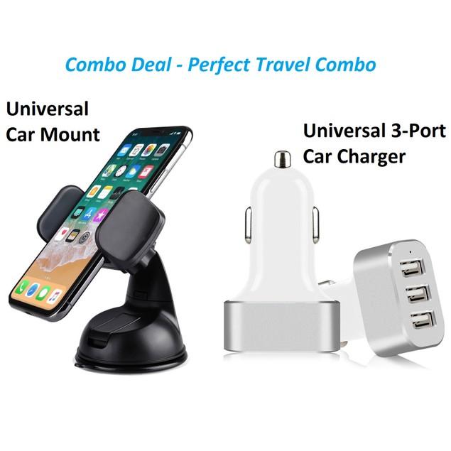 Universal Car Mount & 3-Port Car Charger