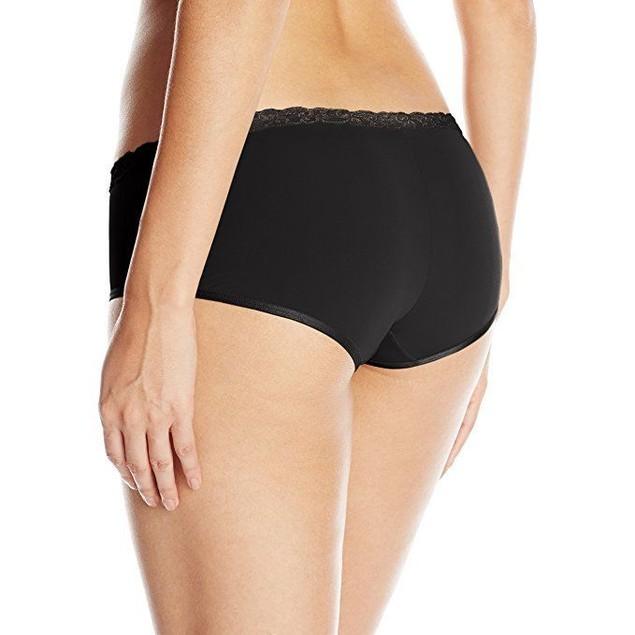 Natori Women's Bliss Pure Girl Short Panty, Black Combo, Medium