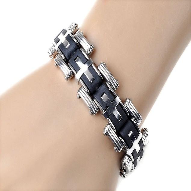 Men Silver Cross Stainles Steel Black Rubber Bracelet Bangle Wristband