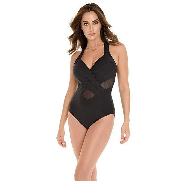 Miraclesuit Women's Meshmerize Underwire One Piece Swimsuit Black US 1