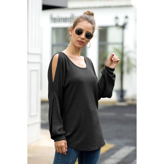 Lilly Posh Cold Shoulder Lantern Sleeve Waffle Knit Top