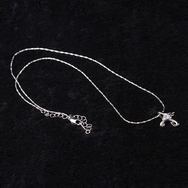 Silver White Plated Crystal Rhinestone Necklace