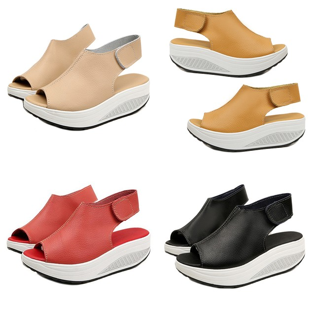 Summer Faux Leather Peep Toe Wedge Sandals Platform Swing Shoes