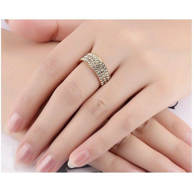 2.75 CTW Sparkling 3 Row Gallery Unisex Rhodium Plated AAA + CZ Ring