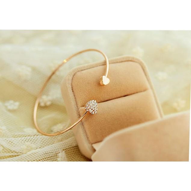 Love Heart Rhinestone Open Bangle Bracelet