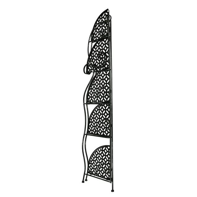 5 Tier Filigree Design Distressed Black Finish Accent Tables
