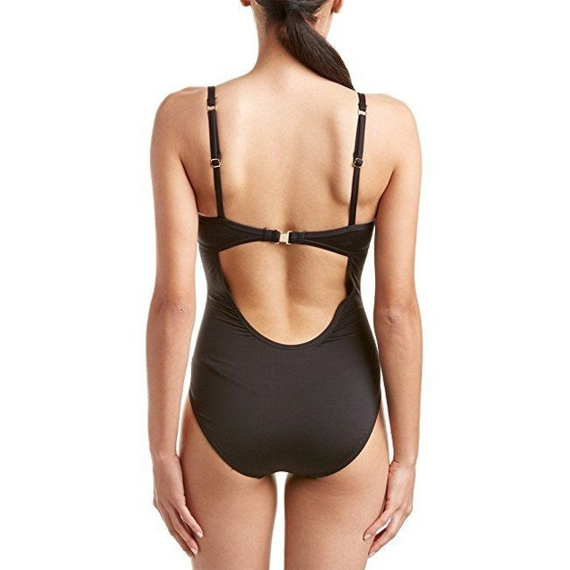 Tommy Womens Black Pearl Low-Back One-Piece Swimsuit Size 10