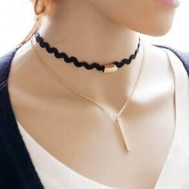 Gold Chain Lace Double Layers Necklace
