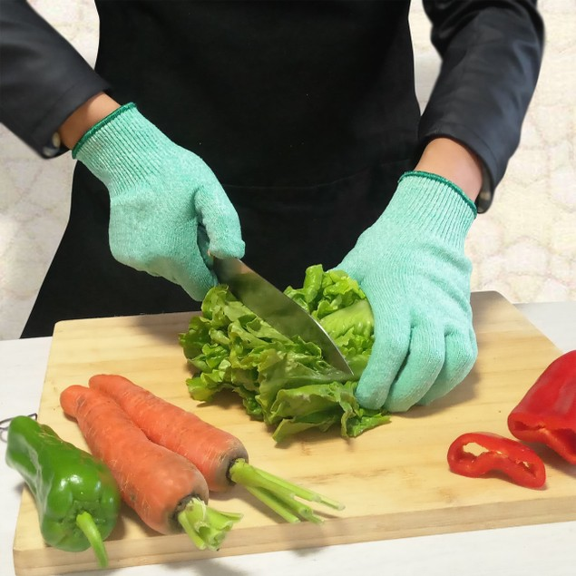 Cut Resistant Green Gloves for cutting Chopping Fish Fillet and Yard-Work