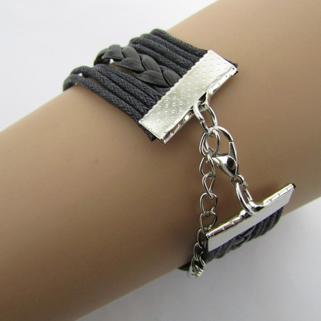 Antique Infinity Double Birds Note Charms Leather Wrap Bracelet