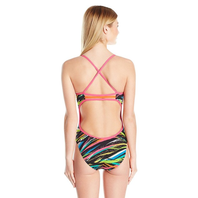 TYR Women's Ravana Trinity Fit Swimsuit, 004 Black/Multicolor, SIZE 34