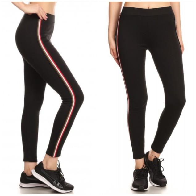 Women's Cotton Blend Side Stripe Leggings