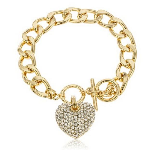 Heart 8.5 Inch Cuban Link 12mm Toggle Bracelet