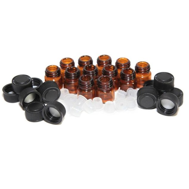 12pc 1 ml Amber Essential Oil Bottle with Orifice Reducer and cap