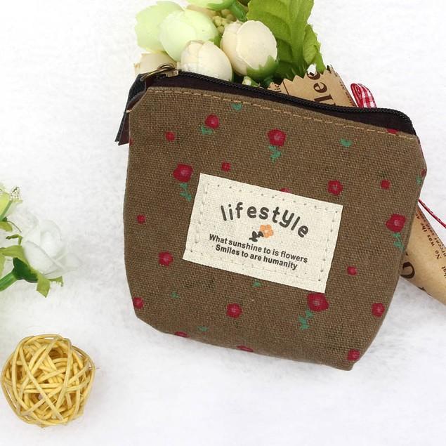 Small Canvas Purse Zip Wallet Lady Coin Case Bag Handbag Key Holder