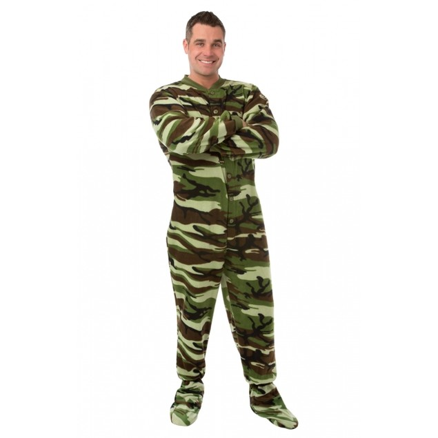 Green and Brown Camouflage Fleece Adult Footed Pajamas