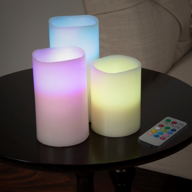 Lavish Home 3 Piece LED Color Changing Flameless Candle