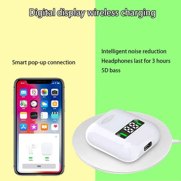 Wireless Earbuds with LED Display and Wireless Charging Case