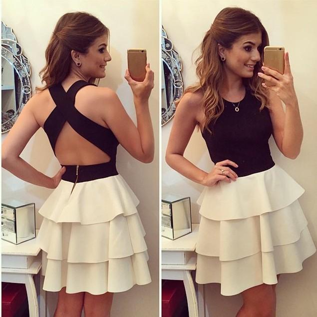Women Sexy Patchwork Backless Hem Multi Level Cake Skirt Dress Clothes