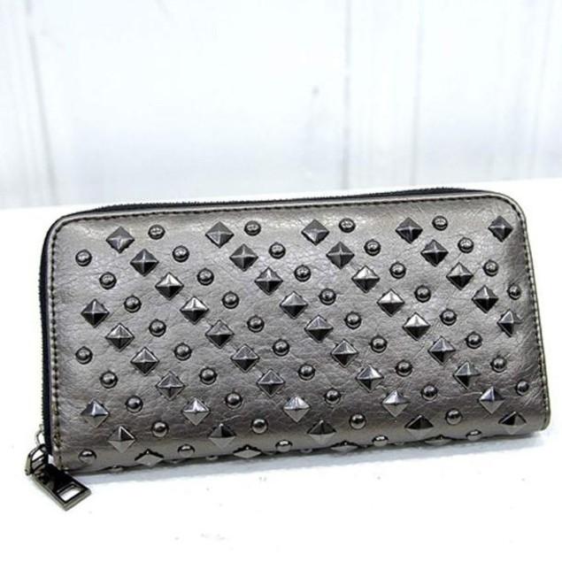 New Fashion Lady Women Leather Clutch Wallet Long Card Punk Rivet Wallet