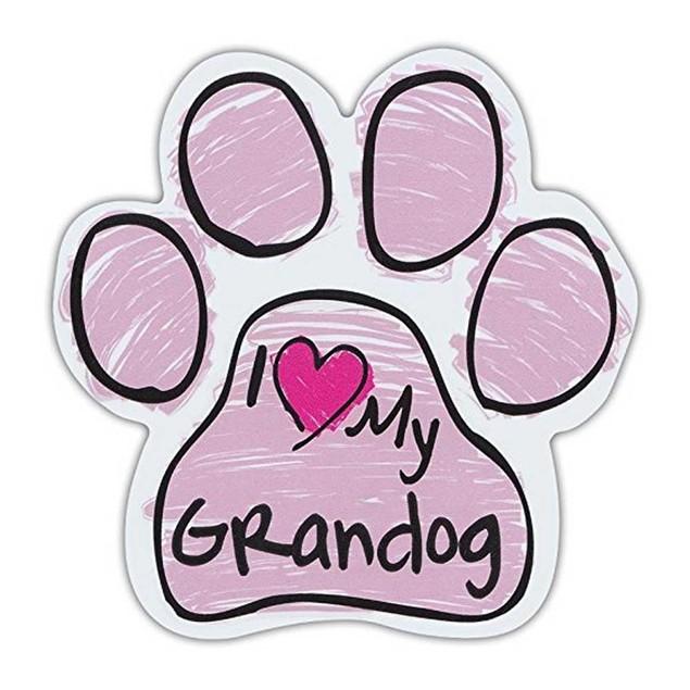 Pink I Love My Grandog Scribble Paw Magnet