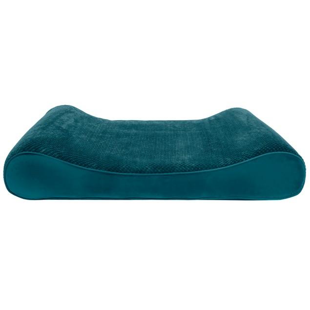 FurHaven Minky Plush & Velvet Luxe Lounger Memory Top Pet Bed