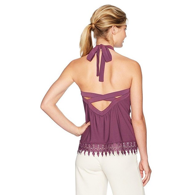 Kensie Women's Knit Halter Top with Criss Cross Back, Berry Stain, XS