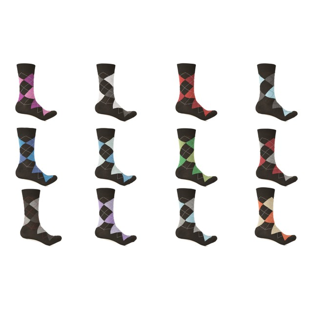 12 Pack Alberto Cardinali Limited Edition Men's Colorful Argyle Socks