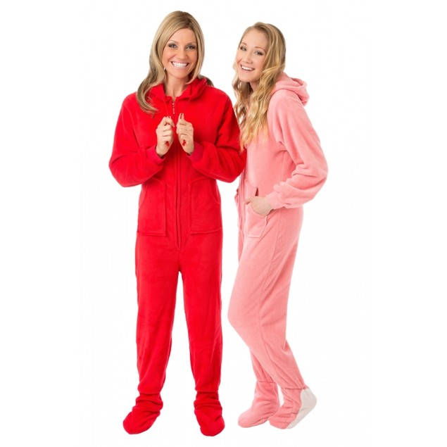 Pink Plush Hooded Adult Footed Pajamas