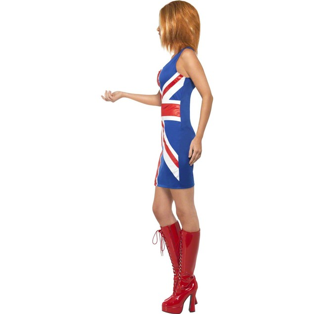Ginger Spice Womens Costume Spice Girls Union Jack Dress Geri Halliwell 90s