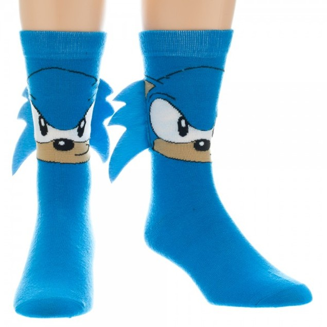 Sonic The Hedgehog Crew Socks With Quills (Pair) Sega Video Game Blue Adult