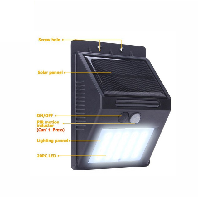 20 LED Solar Power PIR Motion Sensor Wall Light Outdoor Garden Lamp