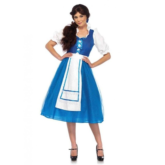 Village Beauty Costume 2 Pieces Beauty And The Beast Belle Maid Dress Blue