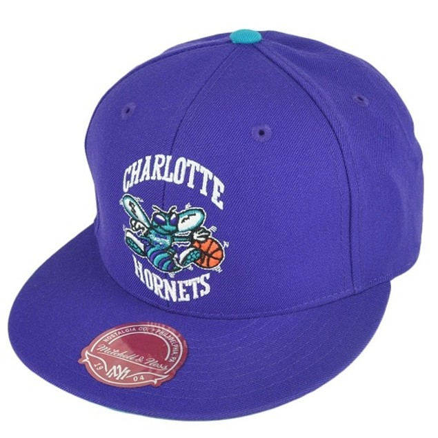 """Charlotte Hornets NBA Mitchell & Ness """"HWC"""" Purple Fitted Hat"""