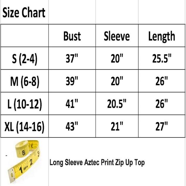 Long Sleeve Aztec Print Zip Up Top