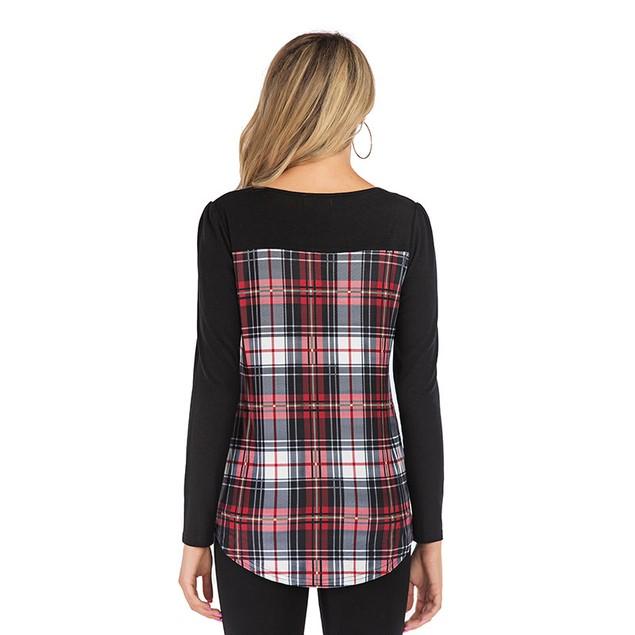 Lilly Posh Long Sleeve Round Neck Plaid Shirt