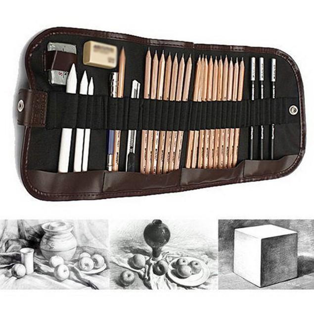 29 Pcs Sketching Pencil Set Extender Eraser Cutter Drawing Suit Art Kit