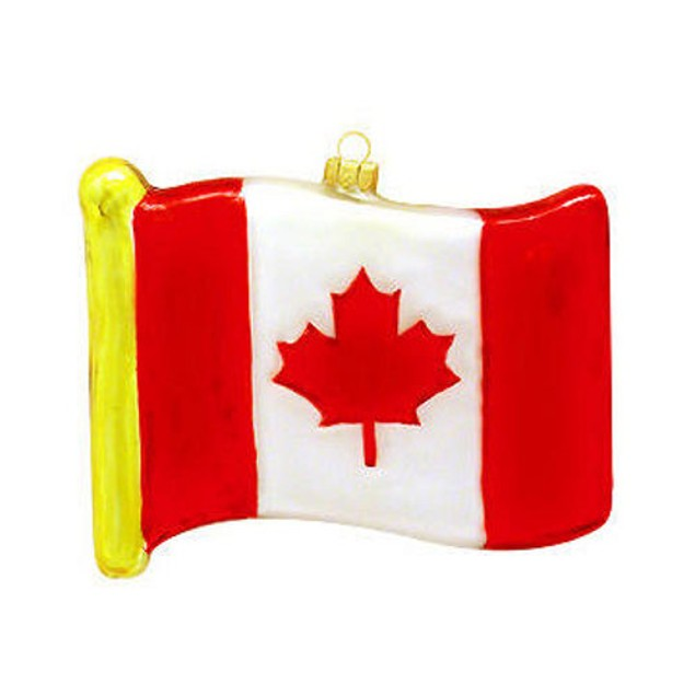 Canada Flag Glass Ornament Canadian Maple Leaf Christmas Tree Hanging