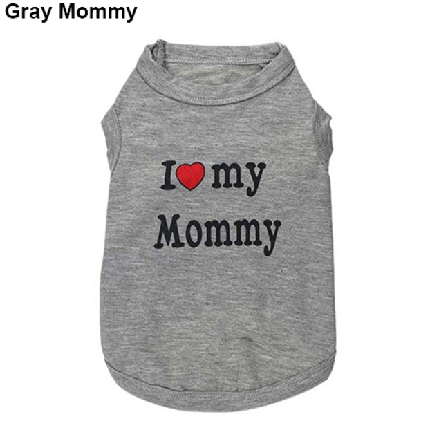 Daddy Mommy Letter Print Dog T-shirt Clothing Cotton Shirt Casual Pet Vest