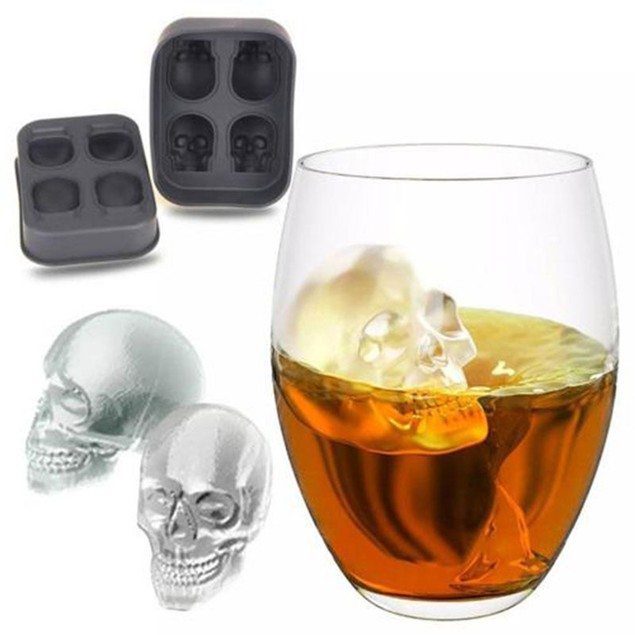 3D Skull Head Shape Ice Cube Mold Tray Bar Home Party Halloween Mould