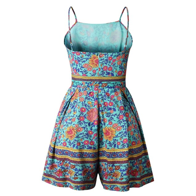 Floral Print Pleated Romper