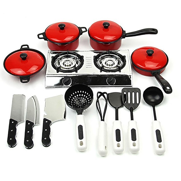 Play Toy Kitchen Cooking Food Utensils Pans Pots Dishes Cookware Supplies