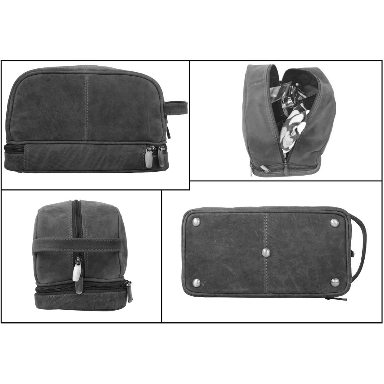 43a0a2a86a ... Handmade Genuine Buffalo Leather Toiletry Bag Dopp Shaving and Grooming  Kit ...
