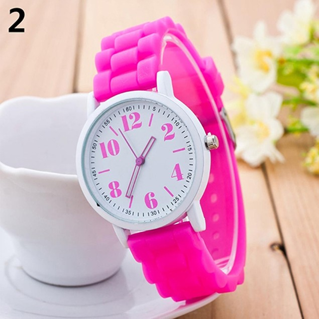 Kids Silicone Strap Arabic Number Quartz Wrist Watch