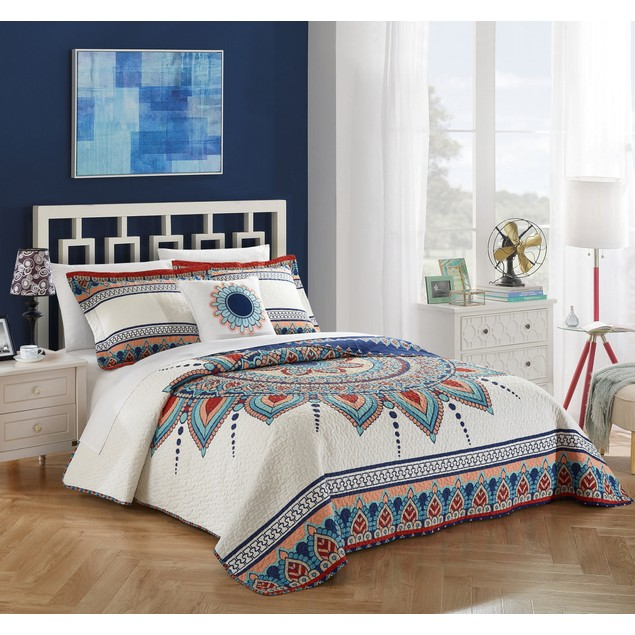 Chic Home 4 Pc. Veracruz 100% Cotton XL Panel Frame Boho Printed Quilt Set